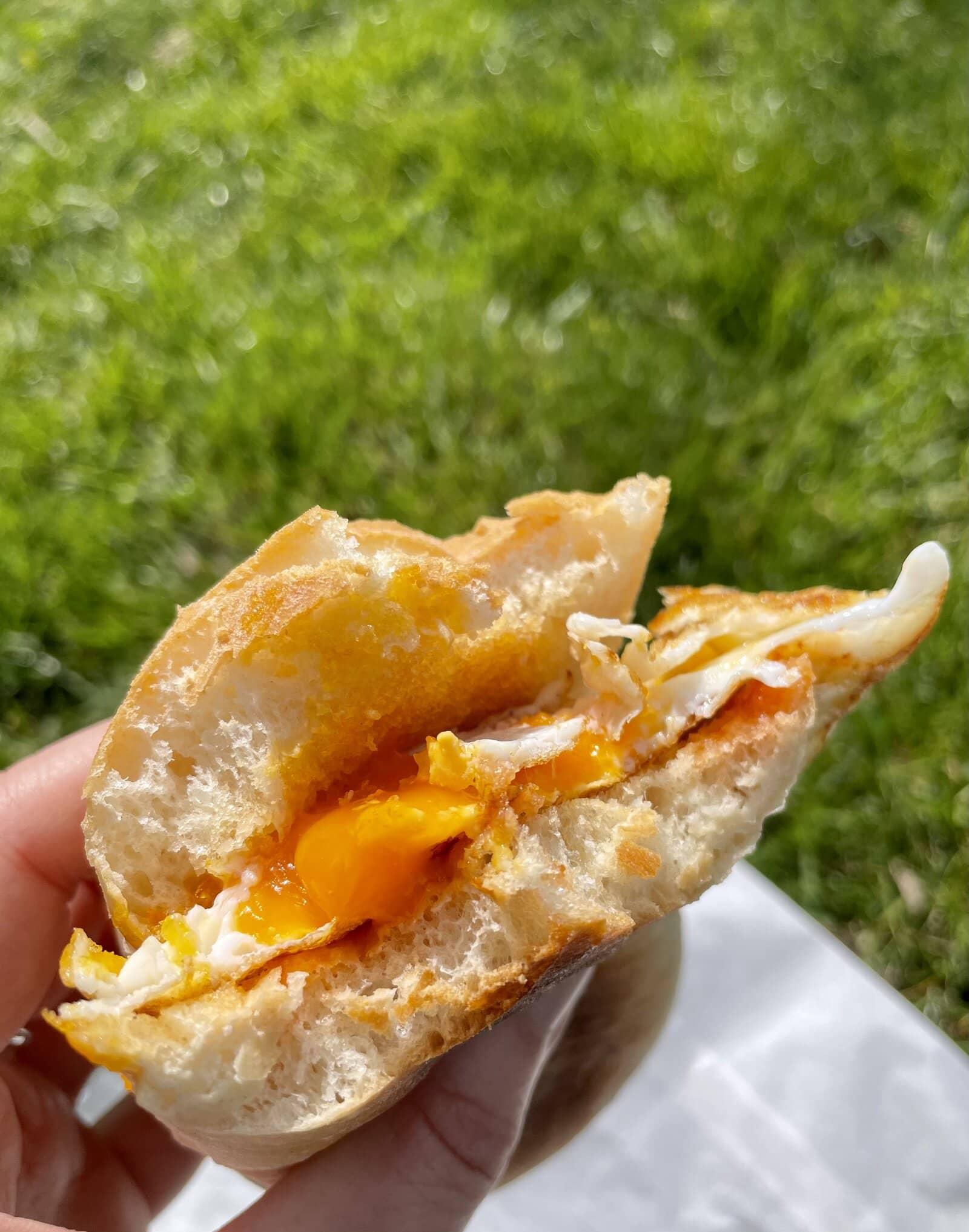 A Fitzbillies egg bap in the Cambridge sun